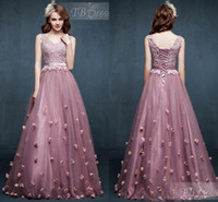 Wholesale 2017 Lace up Prom Dresses Party Evening Light Purple Custom Made V Neck Lace Prom Dress Crystals Flowers Tulle Lace Long Prom Dresses AL7213