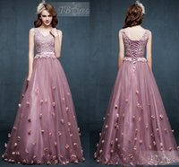 Wholesale Lace up Prom Dresses Party Evening Light Purple Custom Made V Neck Lace Prom Dress Crystals Flowers Tulle Lace Long Prom Dresses AL7213