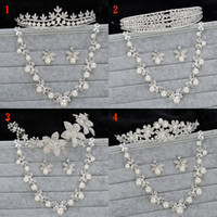 Wholesale Best Selling For Wedding Wedding Jewelry Set Shining Crystal Necklaces Earrings Tiaras Set Crown Bridal Jewelry Accessories