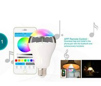 Wholesale Smart BL05 W E27 LED Blub Lamp Light Wireless Bluetooth Speaker RGB Color For IOS Android DHL Free