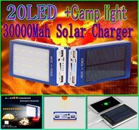 Cheap 30000mah solar 20led camping light charger 20 led 30000 mah power bank camp lights Dual USB battery Panel chargers SOS help for Mobile Phone