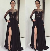art print images - Leg Splits Prom Dresses Formal Black Evening Dress Party Gowns With Sheer Lace Applique Crew Neck Long Sleeves Floor Length