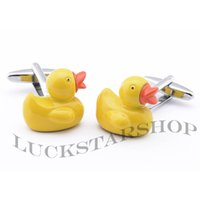 Wholesale Rubber Duck Yellow Duck Cufflinks Men s Cuff Links Men s Jewelry Gifts Wedding Retail