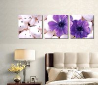 Cheap Framed 3 panels set print painting clock 3 piece flower decorative wall clock canvas art prints (WITH FRAME) FC802