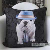 andy hat - bulldog Cute Hat Dog Pillow cover Andy Plush cushion cover CMx45CM
