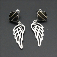 angle alphabet - 2pairs USA biker style new arrival angle wings earrings l stainless steel fashion jewelry motorbiker hot selling earrings