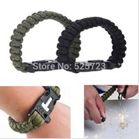 army bracelets rope - Outdoor Black And Army Green Paracord Survival Bracelet With Flint Fire Starter Buckle Rescue Rope Equipment Survival Kit