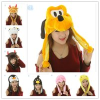 giraffe gifts - 2014 New cartoon animal cute tiger lion giraffe dog rabbit cat hats beanie hats for children Kids christmas gifts