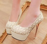Wholesale Spring Women Shoes Sexy High Heels Pumps Platform Lace Wedding Shoes Plus Size WP