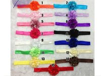 Wholesale Hot European and American sources cm solid satin mesh flower head plus glossy elastic hair band hair accessories for children SKU A016