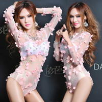 Wholesale 2016 Perspective Floral Fairy Flower Embroidery Jumpsuits Sexy Party Dancer DS Nightclub Performers Costume Hip hop Jazz Stage Wear