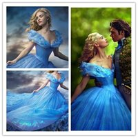 bamboo movies - Romantic Sparkly Blue Ball Gown Movie Cinderella Princess Prom Dresses Newest Off Shoulder Gorgeous Long Evening Dresses