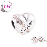 Wholesale silver charms silver Love charms Love Sister Charm mothers day silver charms fit charm bracelets No90 X121A