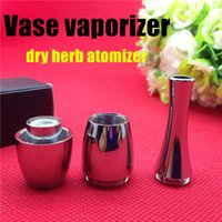 Wholesale Vase cannon Bowling Atomizer wax Dry Herb herbal Vaporizer tank wax double heating coil Dual Coil atomizer Vase Metal Vape fit ego vision
