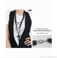 metal cross - 1pcs Fashion Punk Style Multilayer Metal Black Cross Pendant Chain Necklace Hot