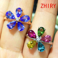 tanzanite ring - Tanzanite ring real sterling silver natural gem Tourmaline rings Platinum plated wedding engagement woman jewelry