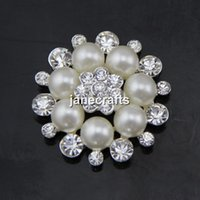 Wholesale 20pcs Crystal Rhinestone Button with Shank Cluster Pearl Flower Sewing Craft For Hair Bow Wedding Invitation Bouquet Pin Brooch