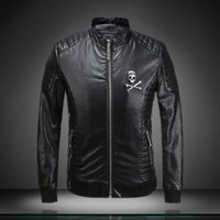 Cheap autumn and winter new European and American metal skull leather leather Slim influx of male rock fans wagon jacket Free Shipping