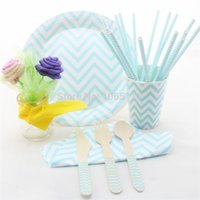 Wholesale Free Ship Tableware Set Blue Chevron Party Paper Plates Cups and bags Paper Party Straws Wooden Spoons Forks Knife