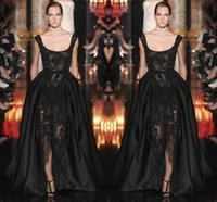 elie saab dress - 2015 Luxury Appliue Beads Evening Celebrity Dresses Bridal Gown Sweep Train Prom Christmas Elie Saab Dresses Black Sexy Luxury Spring Summer