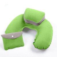 air bus plane - Air Pillow Inflatable Car Train Bus Headrest Travel Plane U Shape Pillow Outdoor Office Nap Relax Foldable Flocking Neck Cushion