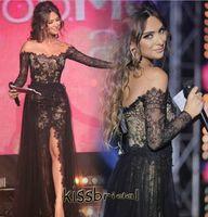 Wholesale 2016 Stylish Arabic Black Lace Evening Dresses Off shoulder Long Sleeves Side Split with Tulle Overskirt Formal Gowns Elie Saab Prom Dresses