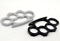 Wholesale 10PCS Silver Black and Gold Thin Steel Brass knuckle dusters Self Defense Personal Security Women s and Men s self defense Pendant