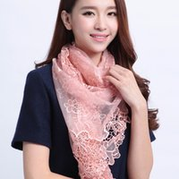 Wholesale Women s Hollow Out Lotus Leaf Scarf Shawl Polyester Flowers Embroidered Long Scarf cm cm