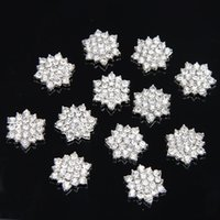 Wholesale High quality mm silver alloy rhinestone button flat back DIY hair accessory headband PJ04
