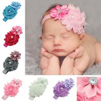 Wholesale Kids Baby Faux Pearl Rhinestones Stretchy Cloth Ribbon Flower Headband Hair Band