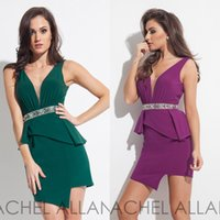 affordable cocktail dresses - Deep V Neck Short Cocktail Prom Dresses Rachel Allan Spring Backless Peplum Mermaid Charming Backless Homecoming Party Gowns Affordable