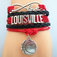 basketball bracelet charm - Custom Sports Bracelets Infinity Love LOUISVILLE basketball Team Bracelet red black Customized Wristband friendship Bracelets Drop shipping
