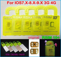 achat en gros de x sim 4s-RSIM origine 10+ RSIM 10 + R-sim 10+ mince carte de déverrouillage pour ios9.X IOS8 IOS7 6s iphone plus 6 5s 5 4s ATT T-mobile Sprint 4G WCDMA 3G CDMA
