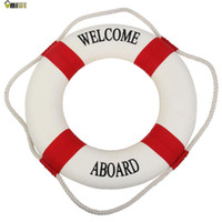 accents decor - Umiwe Navy Accent Nautical Welcome Aboard Decorative Cloth Life Ring Buoy Room Decor