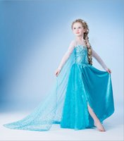 Cheap 2015 Retail Fashion Star Elsa Summer Dress Girl Movie Cosplay Costume Party Show long sleeve Dresses for Children With Yarn Cloak TQ17