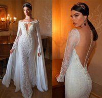 Wholesale 2015 Berta Mermaid Charming Lace Applique Wedding Dresses Detachable Chiffon Cloak Bateau Neck Long Sleeve Backless Bridal Gown Floor length