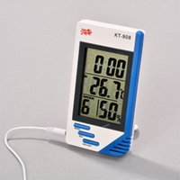 Wholesale 2015 KT in LCD Display Electronic Temperature Humidity Meter Tester Indoor Outdoor Digital Thermometer Hygrometer Clock