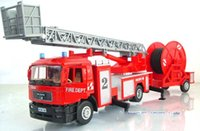 Cheap Man Truck Model Scale Model 1:40 Fire Ladder Truck With Water Pipe Alloy Diecast Metal Car Model Display Collection Kid Toys