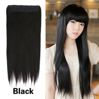 Wholesale Addorable Girl Lady Long Straight Clip On Hair Extension Black Fibre cm K5BO