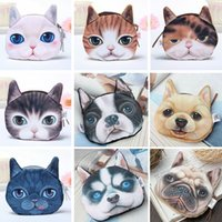 Wholesale 2015 New fashion Cute Dogs Cats Cartoon D Huskie Print Animal Face Zipper Case Coin Purse Wallet Makeup Buggy Bag Pouch Women Kids