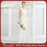 Cheap Unique Mariage Dresses Jewel Neckline Sheath Brush Train Beading Low Cut Back Ivory Satin Chiffon Bride Dress Wholesale