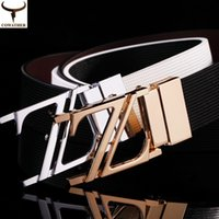 Wholesale Cowhide genuine leather belts for men fashionable and casual alloy Z style rotation Smooth Buckle designer belts SKU B001