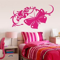 Wholesale Customized Butterfly Flower Wall Sticker Vinyl Wall Art Decals Flowers Decoratin Mural Flower Bedroom Living Room Home Decor