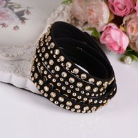 Wholesale Girls Double Layered Bracelets Suede Lather Crystal Bracelet Rhinestone Handmade Velvet WrapCharm Bracelets Mic Clr J150