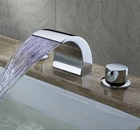 Wholesale Deck Mount Double Handles Led Waterfall Contemporary Widespread Bathroom Sink Faucet Chrome Finish Led Water Flow Powered Temperature