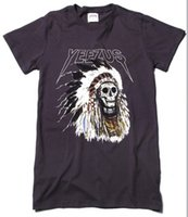 Wholesale 2015Authentic Kanye west Yeezus Tour Merch Indian Headdress Skull Dark Grey White t shirt tee
