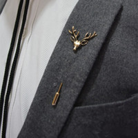 animal pin badges - New Brand Design Men Retro Brooch Popular Plug Deer brooch Pins Collar Pin Up Accessory Unisex Suit Badge Brooch Jewelry