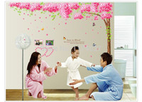Wholesale Romantic cherry blossom trees removable sitting room bedroom wall stickers Wedding room decoration