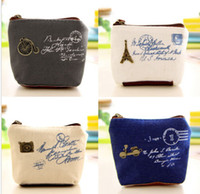 Wholesale Hot Sales Canvas Women Girl Cute Zipper Coin Bag Purse Wallet Key Card Case Pouch Mini Handbag BX195