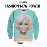 beauty eating - 3D Sweatshirts Monroe Eat Chewing Gum Beauty Moment Iswag Brand Sweatshirt Crew Neck Cotton Long Sleeve Hip Hop Sweatshirts Fashon J160129